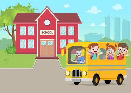 school bus in the school vector illustration