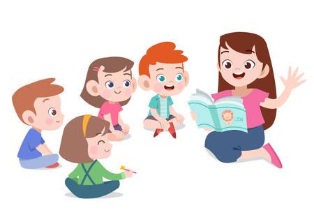 nauczyciel czyta historię uczniowi ilustracji wektorowych