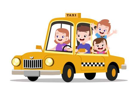 glückliche Kinderfamilie, die Taxivektorillustration fährt