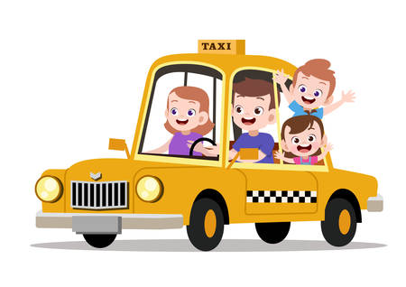 Happy kids family riding taxi vector illustration