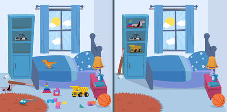 room clean and dirty vector illustration Illustration