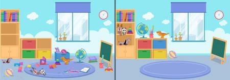 habitación limpia y sucia ilustración vectorial