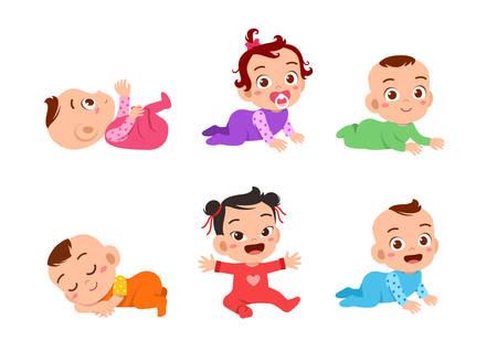 happy cute birth baby smile vector illustration