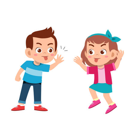happy cute kids expression with friend illustration