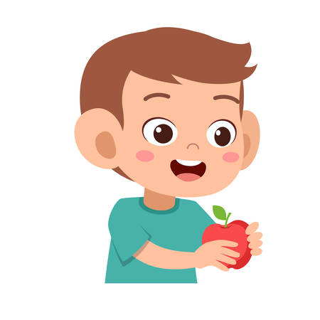 happy cute kid drink and eat vector illustration