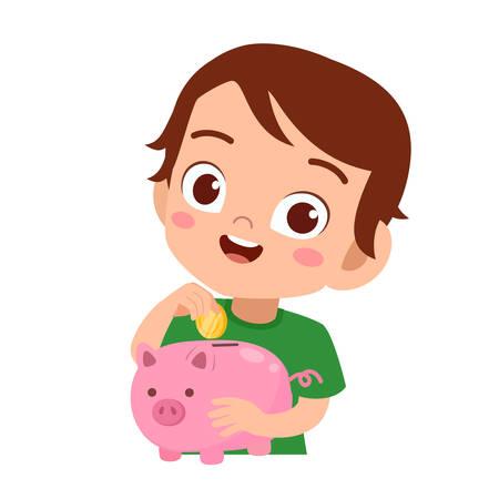 glückliches süßes Kind, das Sparschweinvektor hält Vektorgrafik