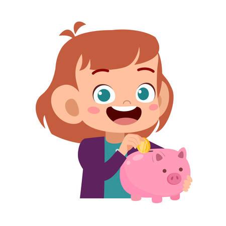 happy cute kid holding piggy bank vector Vektorgrafik