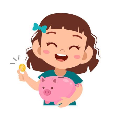 happy cute kid holding piggy bank vector Vetores