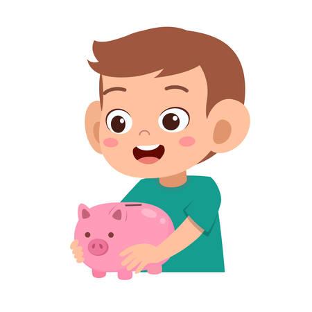 glückliches süßes Kind, das Sparschweinvektor hält