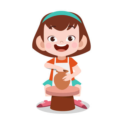happy kid make clay pottery vector illustration