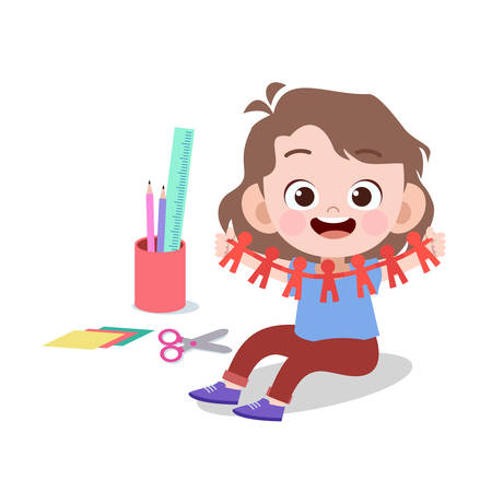 happy kid art paper cut vector illustration