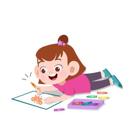 Heureux enfants mignons passe-temps créatif vector illustration Vecteurs