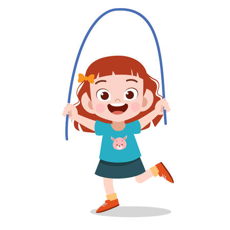happy kid cute doing sport vector illustration