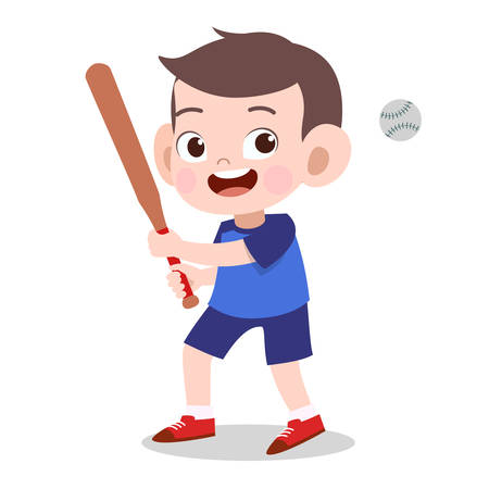 happy kid cute doing sport vector illustration