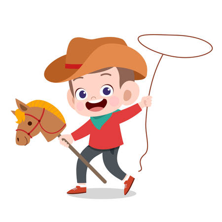 happy kid play with horse toy vector illustration