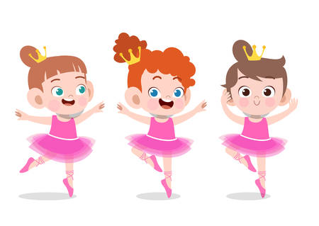 happy kids child ballerina vector illustration isolated