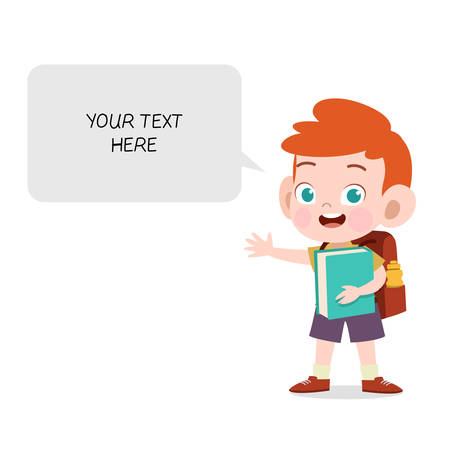 happy kid bubble chat vector illustration isolated Ilustração