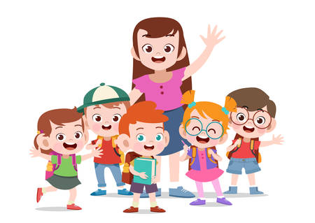 happy teacher with kids vector illustration isolated