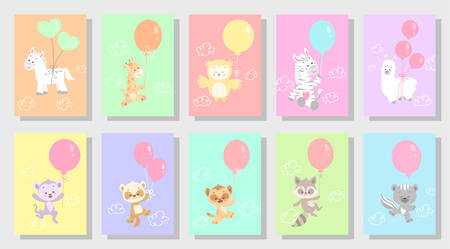 cute kids greeting card vector set bundle