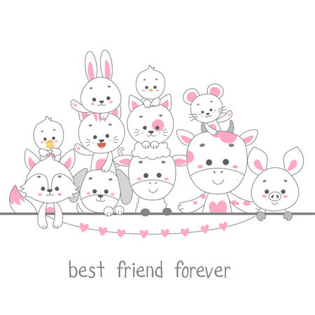 cute happy animal line art vector illustration