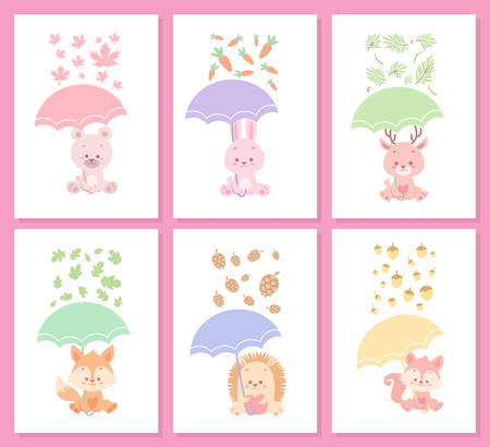 cute happy animal vector illustration set bundle