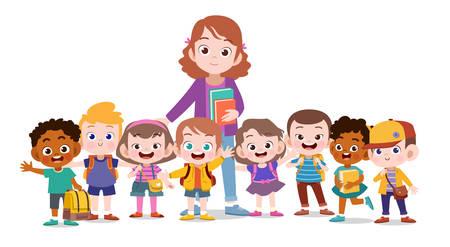 heureux, mignon, enseignant, école, gosse, vecteur, illustration