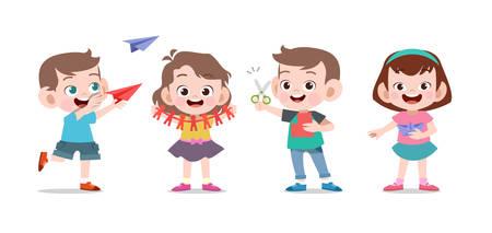 los niños juegan lindo colegio juntos vector ilustración conjunto