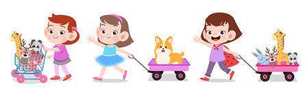kids play cute school together vector illustration set