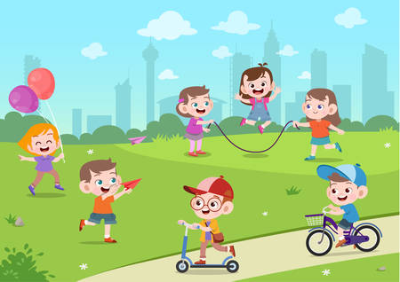 kids play cute school together vector illustration set