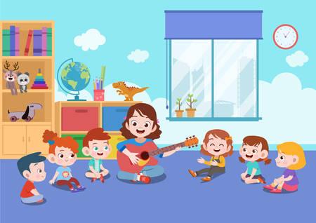 enseignant d'activité mignon de l'école enseigner l'illustration vectorielle