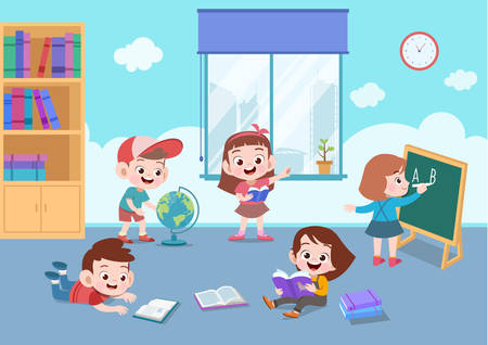 school cute activity teacher teach vector illustration