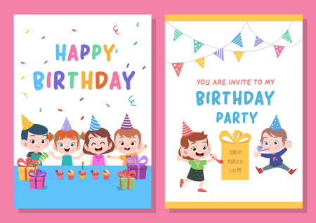 kid cute birthday party card vector illustration