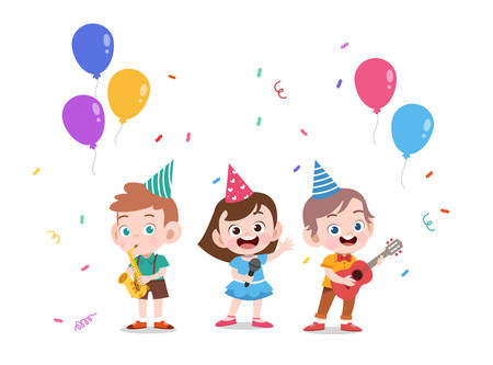 kids cute birthday party card vector illustration Çizim