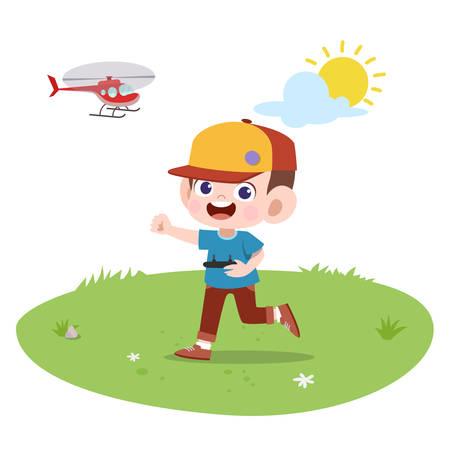 happy kids play with friend vector illustration Ilustracje wektorowe