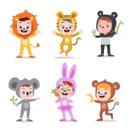 kids hapy cute with costume vector illustration Illustration