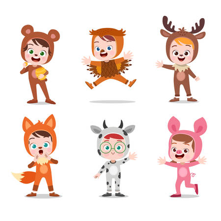 kids hapy cute with costume vector illustration