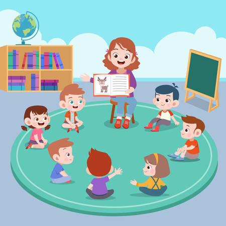 école heureuse d'enfants mignons apprennent le vecteur d'étude
