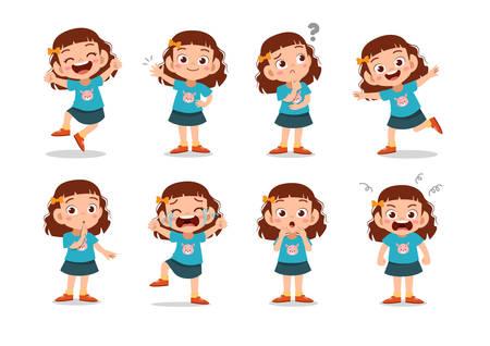 kid child expression vector illustration set bundle Stock Illustratie