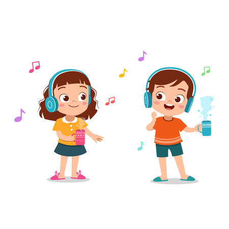 enfants mignons heureux d'écouter de la musique vector illustration