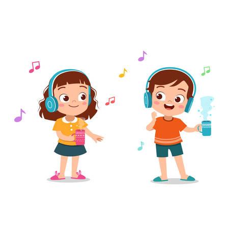 Kinder süß glücklich Musik hören Vektor-Illustration