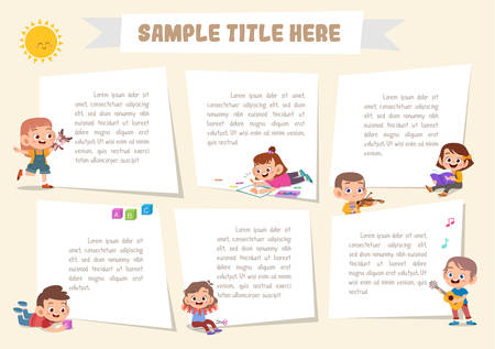 Vector cute happy kids design elements for notebook
