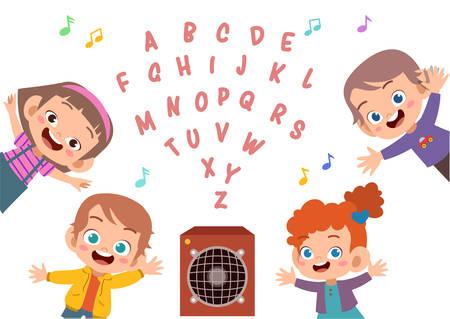 cute kids happy school learn study vector