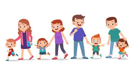 kids cute happy with parent vector set bundle