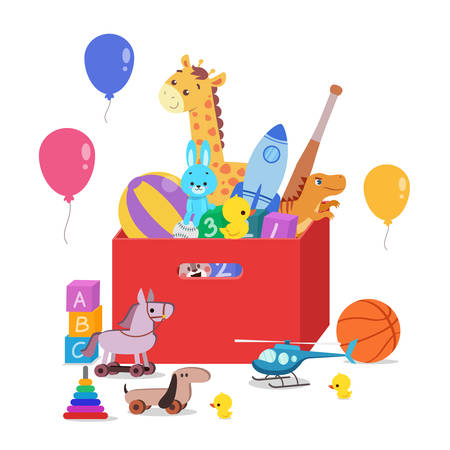 Toy Box full of children toys illustration