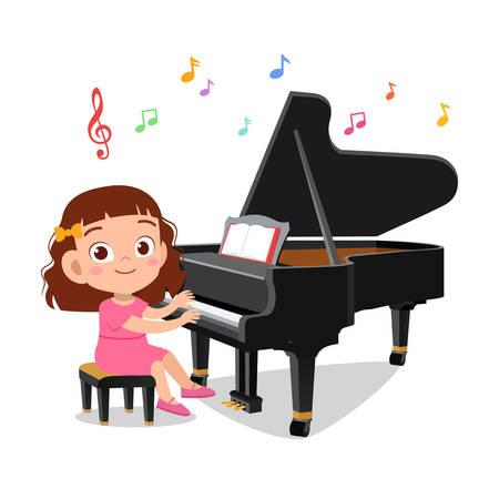 illustration of a boy and a girl playing piano Vektorové ilustrace
