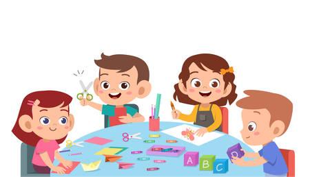 i bambini carini la scuola felice imparano lo studio vettore Vettoriali