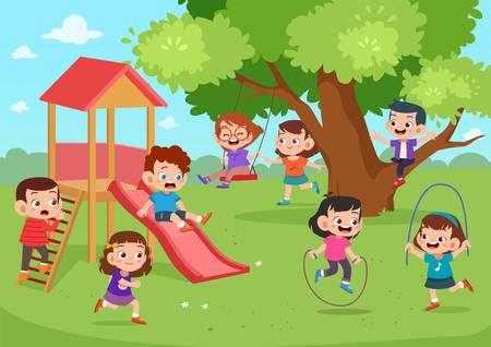 Children cute happy playing outside vector illustration