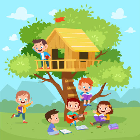 kids tree cute happy house vector illustration Banque d'images - 138511046
