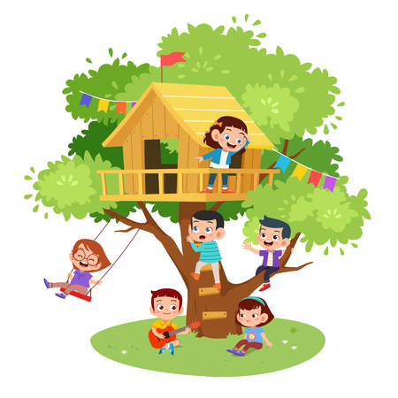 kids tree cute happy house vector illustration Banque d'images - 138511073