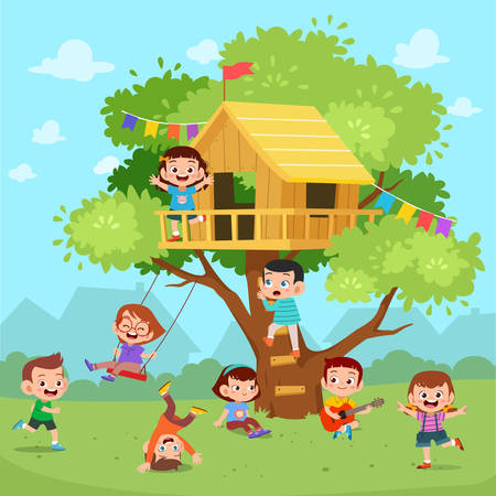 kids tree cute happy house vector illustration Banque d'images - 138511159